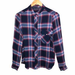 ZARA Trafaluc Navy Blue Plaid Burton Down Shirt